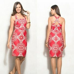 Adrianna Papell | Red Paisley Print Shift Dress